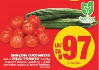 English Cucumbers or Field Tomato