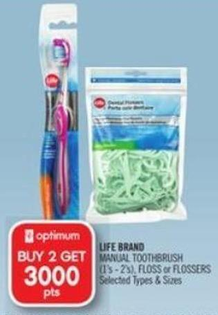 Life Brand Manual Toothbrush (1's - 2's) - Floss or Flossers