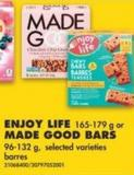 Enjoy Life - 165-179 g or Made Good Bars - 96-132 g