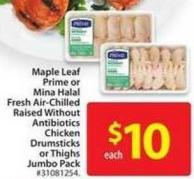 Maple Leaf Prime or Mina Halal Fresh Air-chilled Raised Without Antibiotics Chicken Drumsticks or Thighs Jumbo Pack