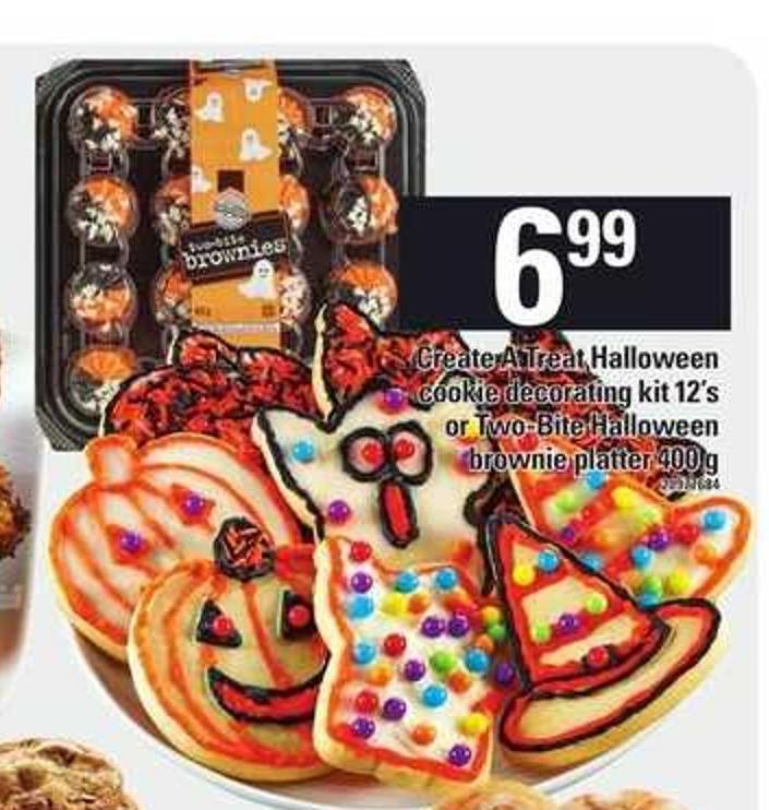 Create A Treat Halloween Cookie Decorating Kit 12's Or Two-bite Halloween Brownie Platter - 400 g