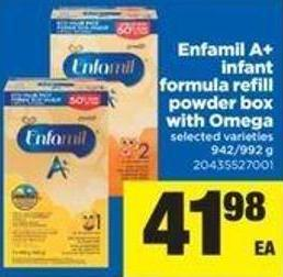 Enfamil A+ Infant Formula Refill Powder Box With Omega - 942/992 g