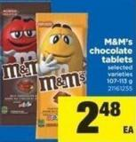 M&m's Chocolate Tablets - 107-113 g