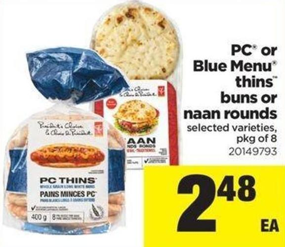 PC Or Blue Menu Thins Buns Or Naan Rounds - Pkg Of 8