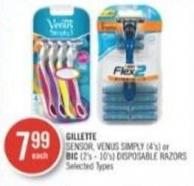 Gillette Sensor - Venus Simply (4's) or Bic (2's - 10's) Disposable Razors
