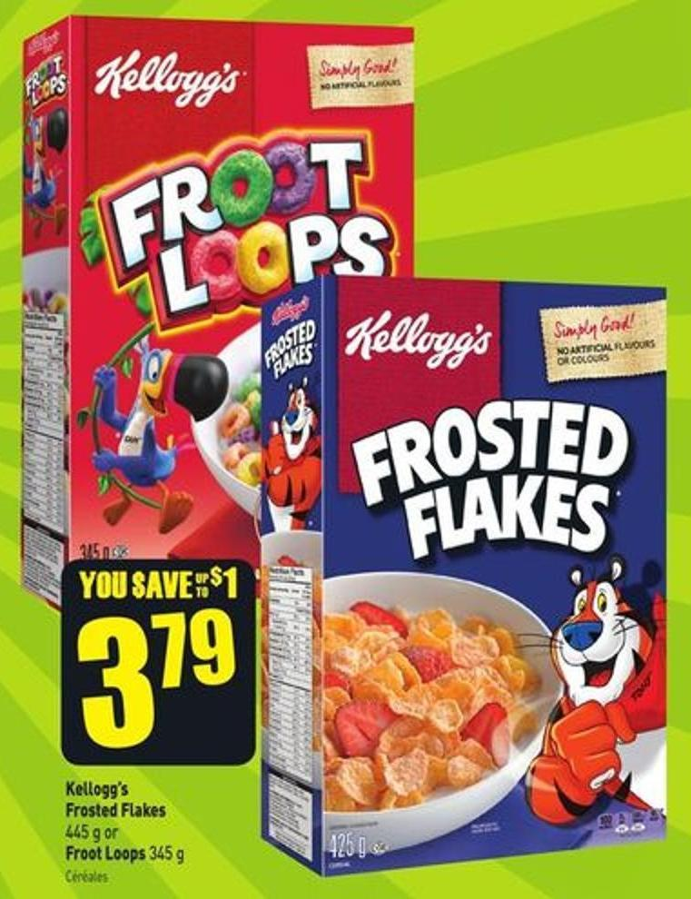 Kellogg's Frosted Flakes 445 g or Froot Loops 345 g