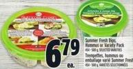 Summer Fresh Dips - Hummus Or Variety Pack 454 - 500 g