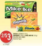 Ricola Lozenges (10's) - Maynards (100g) or Mike And Ike (141g) Theatre Box Candy