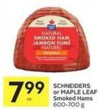 Schneiders or Maple Leaf Smoked Hams 600-700 g