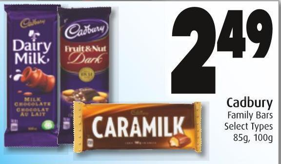 Cadbury Family Bars Select Types 85g - 100g