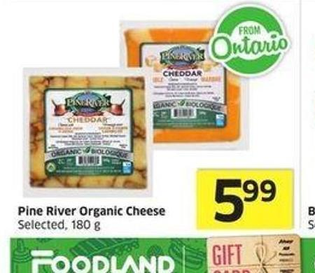Pine River Organic Cheese Selected -