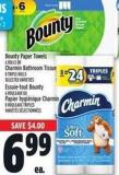 Bounty Paper Towels 6 Rolls Or Charmin Bathroom Tissue 8 Triple Rolls