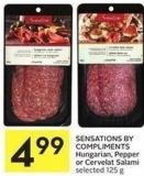 Sensations By Compliments Hungarian - Pepper or Cervelat Salami Selected 125 g