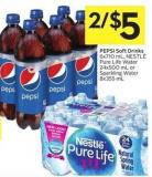 Pepsi Soft Drinks 6x710 mL - Nestlé Pure Life Water 24x500 mL or Sparkling Water 8x355 mL