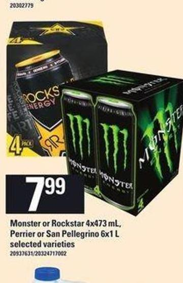 Monster Or Rockstar - 4x473 Ml - Perrier Or San Pellegrino - 6x1 L