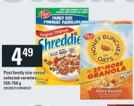 Post Family Size Cereal - 550-750 G