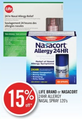 LIFE BRAND or NASACORT 24HR ALLERGY NASAL SPRAY 120's