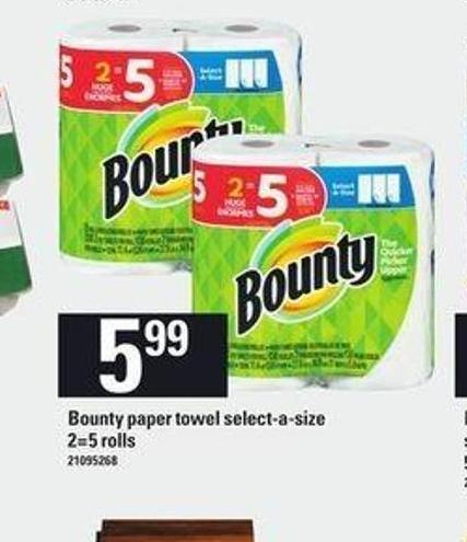 Bounty Paper Towel Select-a-size - 2=5 Rolls