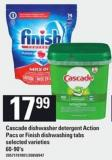 Cascade Dishwasher Detergent Action Pacs Or Finish Dishwashing Tabs - 60-90's