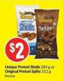 Unique Pretzel Shells 284 g or Original Pretzel Splits 312 g