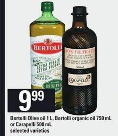 Bertolli Olive Oil 1 L - Bertolli Organic Oil 750 Ml Or Carapelli 500 Ml