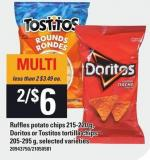 Ruffles Potato Chips - 215-220 G - Doritos Or Tostitos Tortilla Chips - 205-295 G
