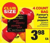 Farmer's Market Peppers - 4count Bag