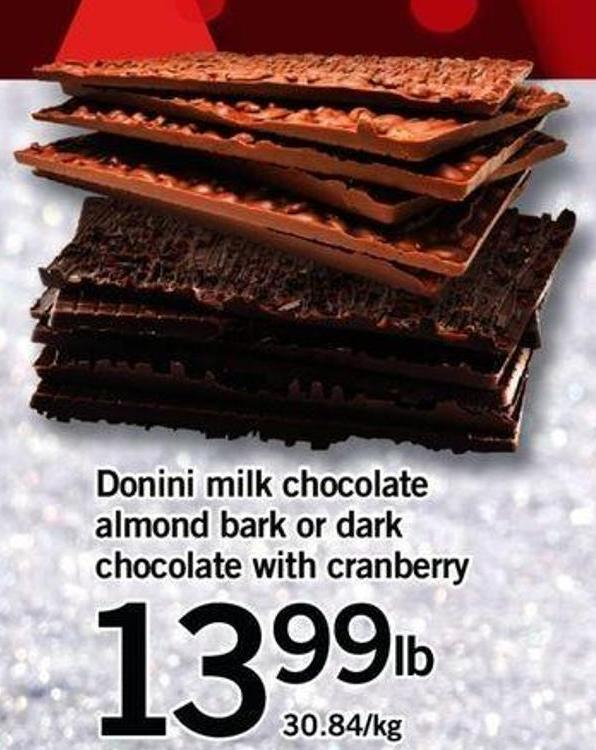 Donini Milk Chocolate Almond Bark Or Dark Chocolate With Cranberry