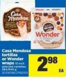 Casa Mendosa Tortillas Or Wonder Wraps - 384/640 g