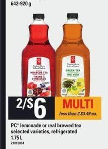 PC Lemonade Or Real Brewed Tea - 1.75 L