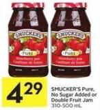 Smucker's Pure - No Sugar Added or Double Fruit Jam 310-500 mL