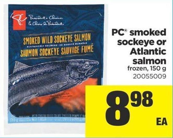 PC Smoked Sockeye Or Atlantic Salmon Frozen - 150 g