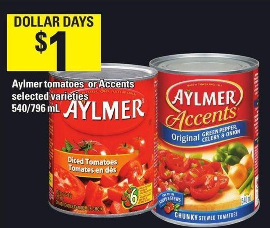 Aylmer Tomatoes Or Accents 540/796 mL