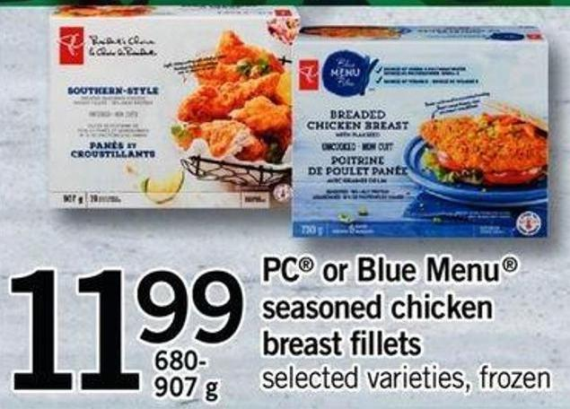 PC Or Blue Menu Seasoned Chicken Breast Fillets - 680- 907g
