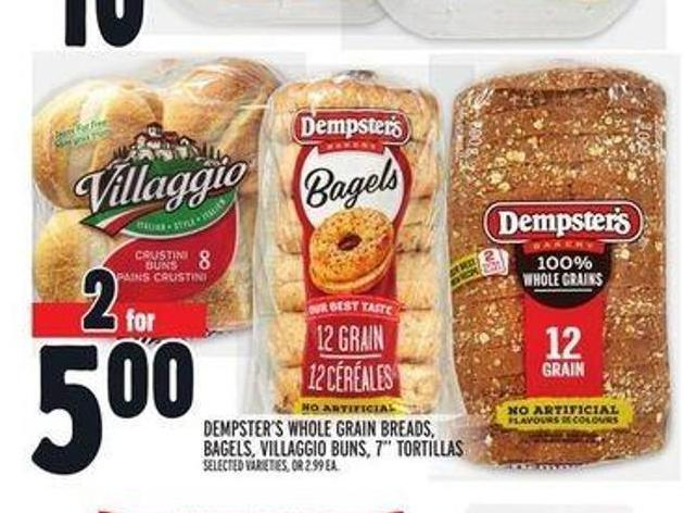 Dempster's Whole Grain Breads - Bagels - Villaggio Buns - 7in Tortillas