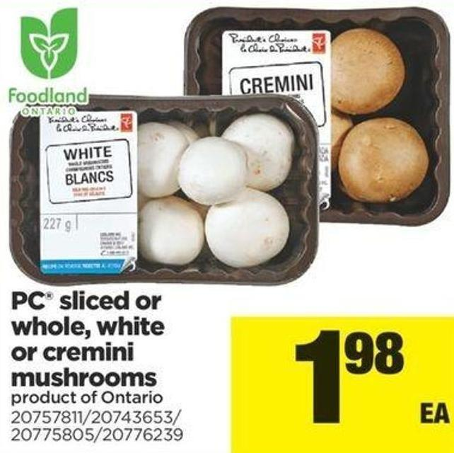 PC Sliced Or Whole - White Or Cremini Mushrooms