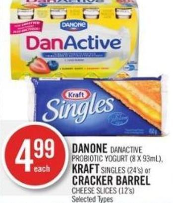 Danone Danactive Probiotic Yogurt (8 X 93ml) - Kraft Singles (24's) or Cracker Barrel Cheese Slices (12's)