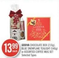Godiva Chocolate Box (210g) - Blue Snowflake Tealight (540g) or Assorted Coffee Mug Set