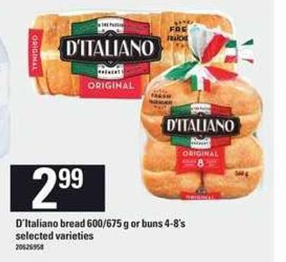 D'italiano Bread 600/675 G Or Buns 4/8's