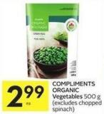 Compliments Organic Vegetables 500 g