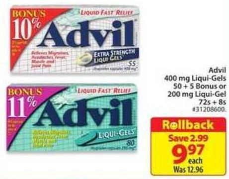 Advil 400 Mg Liqui-gels 50+5 Bonus or 200 Mg Liqui-gel 72s + 8s