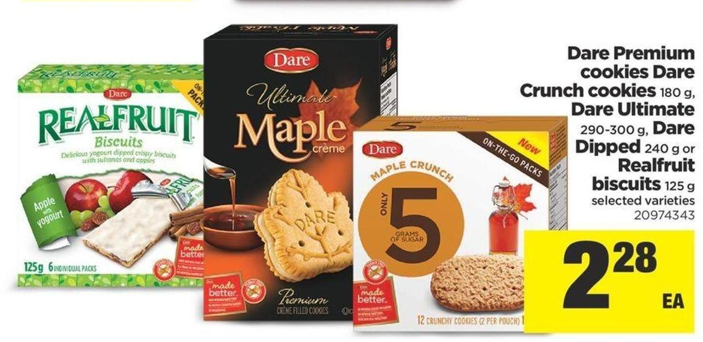 Dare Premium Cookies Dare Crunch Cookies - 180 g - Dare Ultimate - 290-300 g - Dare Dipped - 240 g Or Realfruit Biscuits - 125 g