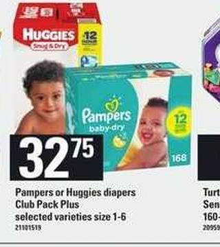 Pampers or Huggies Diapers Club Pack - Plus Size 1-6
