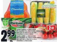 Cocktail Tomatoes 2 Lb - Product Of Ontario Mini Cucumbers 908 G - Product Of Ontario - Canada No. 1 Grade Sweet Corn 4 Pk - Product Of U.S.A. - No. 1 Grade Clementines 2 Lb - Product Of Morocco