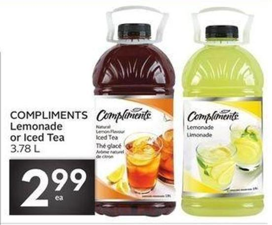Compliments Lemonade or Iced Tea