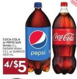 Coca-cola or Pepsi Soft Drinks 2 L - Dasani Water 1.5 L or Sunny D 500 mL