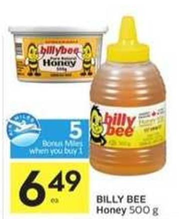 Billy Bee Honey - 5 Air Miles Bonus Miles