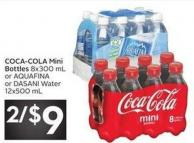 Coca-cola Mini Bottles 8x300 mL or Aquafina or Dasani Water 12x500 mL