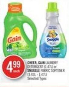 Cheer - Gain Laundry Detergent (1.47l) or Snuggle Fabric Softener (1.43l - 1.47l)