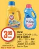 Downy Fabric Softener (1.02l) - Arm & Hammer (1.81l - 2.21l) or Tide Simply (1.09l - 1.18l) Laundry Deteregent